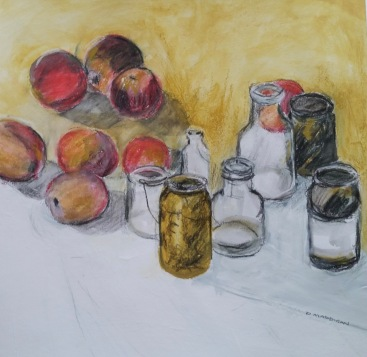 Apples and jars Inktense and charcoal 42x44 cm SOLD