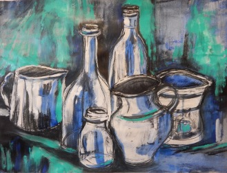Jugs and bottles in blue