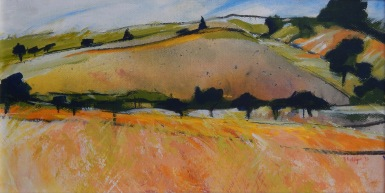 Hill from hill Mixed media 25 x 40 cm SOLD