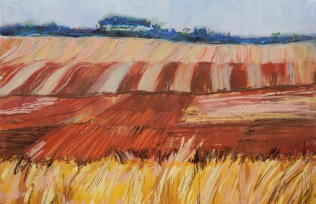 Ploughed paddock Mixed media 49 x 68cm $300 framed