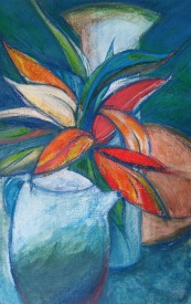Pots and plant Inktense 83 x 57cm $250 framed