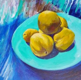 Quinces Acrylic 38 x 38 cm $250 framed
