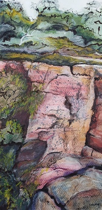 Mt William walk 2, Grampians Watercolour, ink, pastel 37 x 19cm SOLD