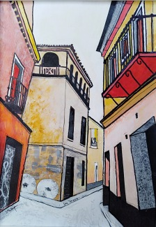 Seville 4 Collage, gouache and pen 19x26 cm SOLD