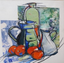 Tomatoes and jugs 2 Acrylic 31 x 31 cm $250 stretched canvas