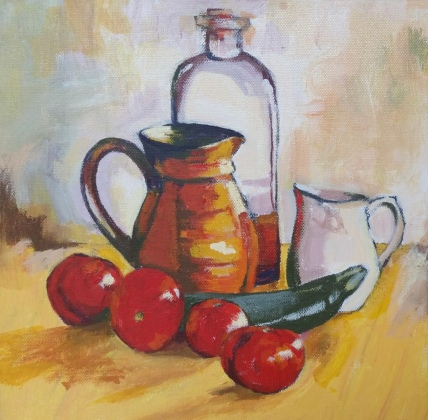 Tomatoes and jugs 1 Acrylic 31 x 31 cm $250 stretched canvas