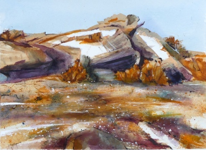 The Rocks, Almerta Watercolour 25 x 35 cm $300 framed