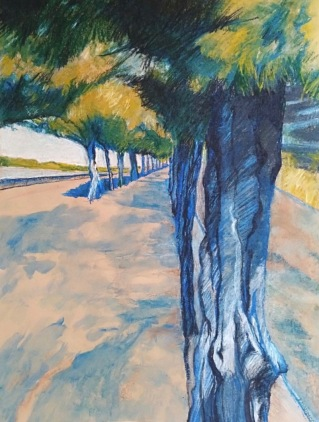 Walk along the bay Inktense and charcoal 42x59cm