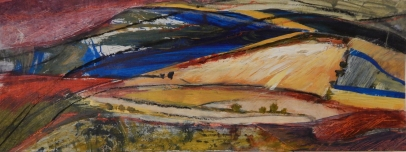 Tuscan farmland Mixed media SOLD