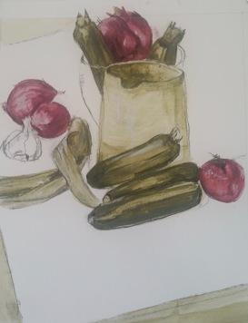 Zucchinis and jug Inktense $100