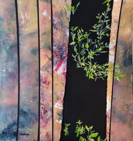 Survival Oil collage and gouache 31 x 33 cm