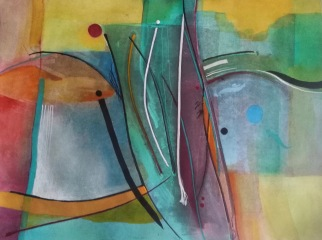 Abstract Watercolour, gouache, pastel and ink 30 x 40 cm SOLD