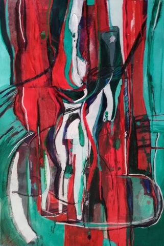Bottle Abstract Mixed media $250 unframed 53cm x 37cm