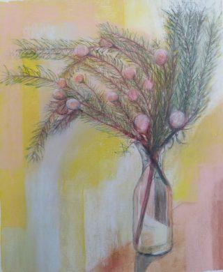 Leucadendron Pastel and inktense 42 x 30 cm $150 unframed