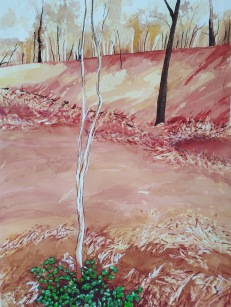 Fireground Lobethal Watercolour and pastel 34 x 52 cm $250 unframed