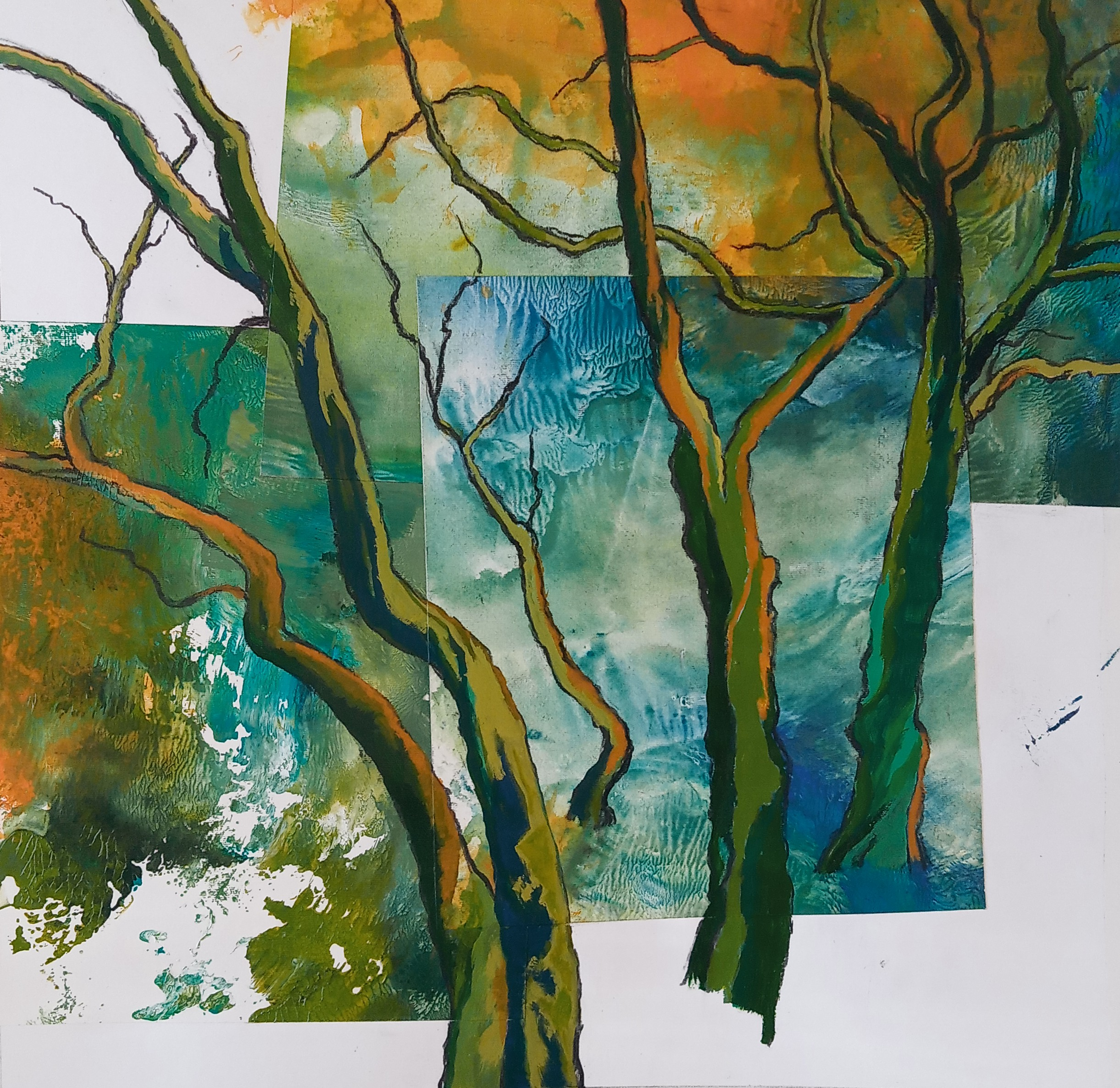 Currency Creek Eucalypts  Mixed media (collage, charcoal and acrylic)  52.5 x 52.5 cm  $400 framed